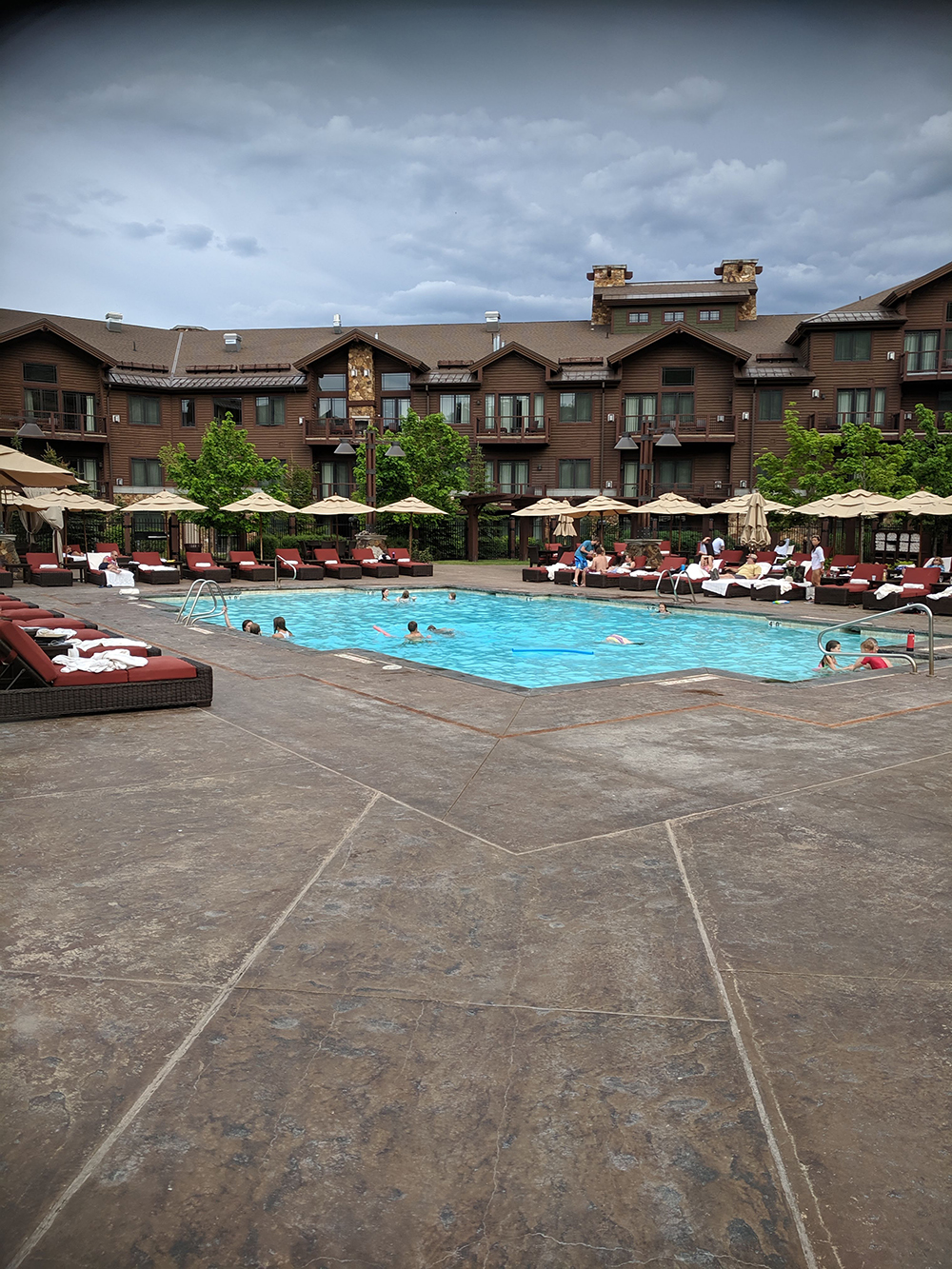 The outdoor pool is the perfect place to relax, soak up some rays, and breathe in the fresh mountain air.