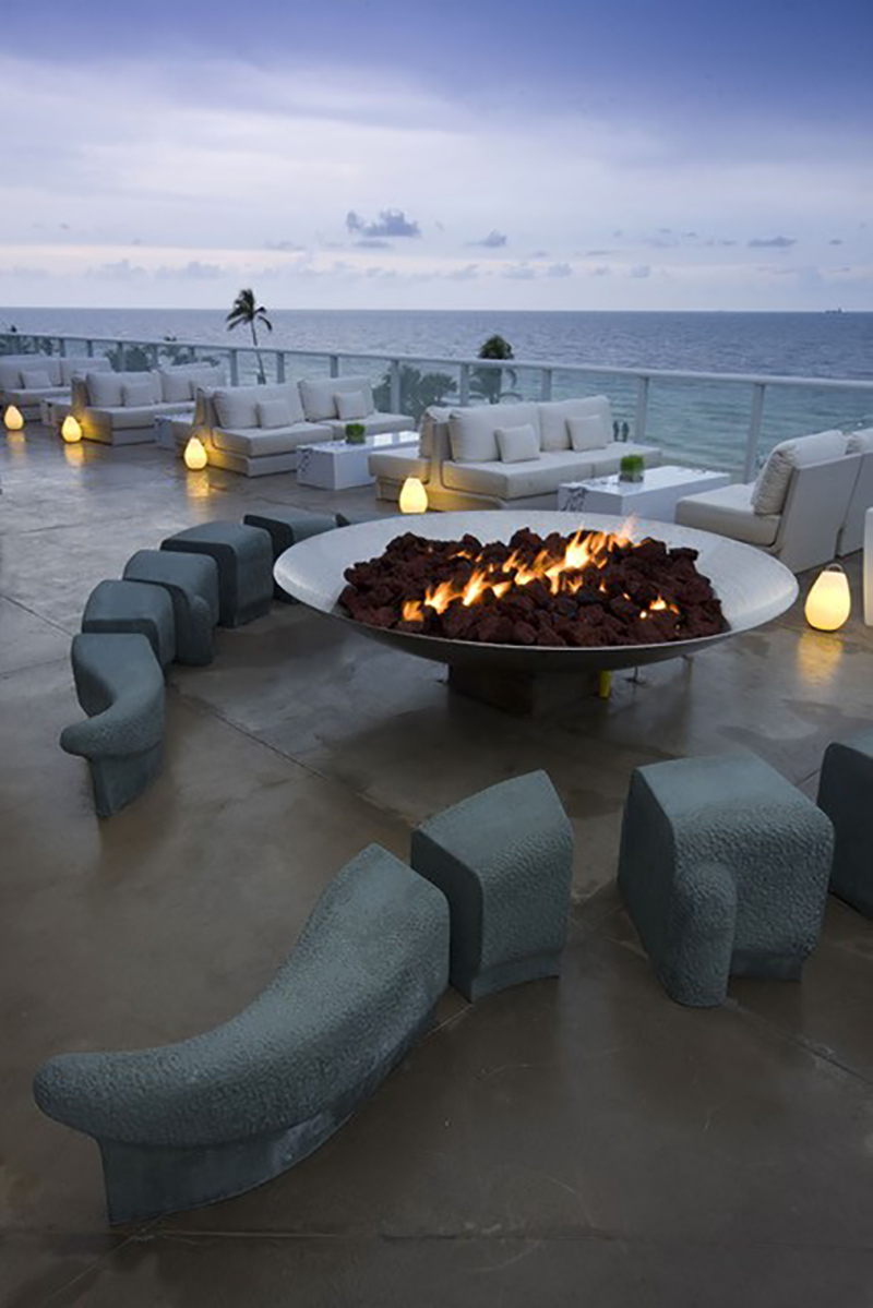 Stainless Steel Firebowl at the W Hotel Fort Lauderdale, Florida.