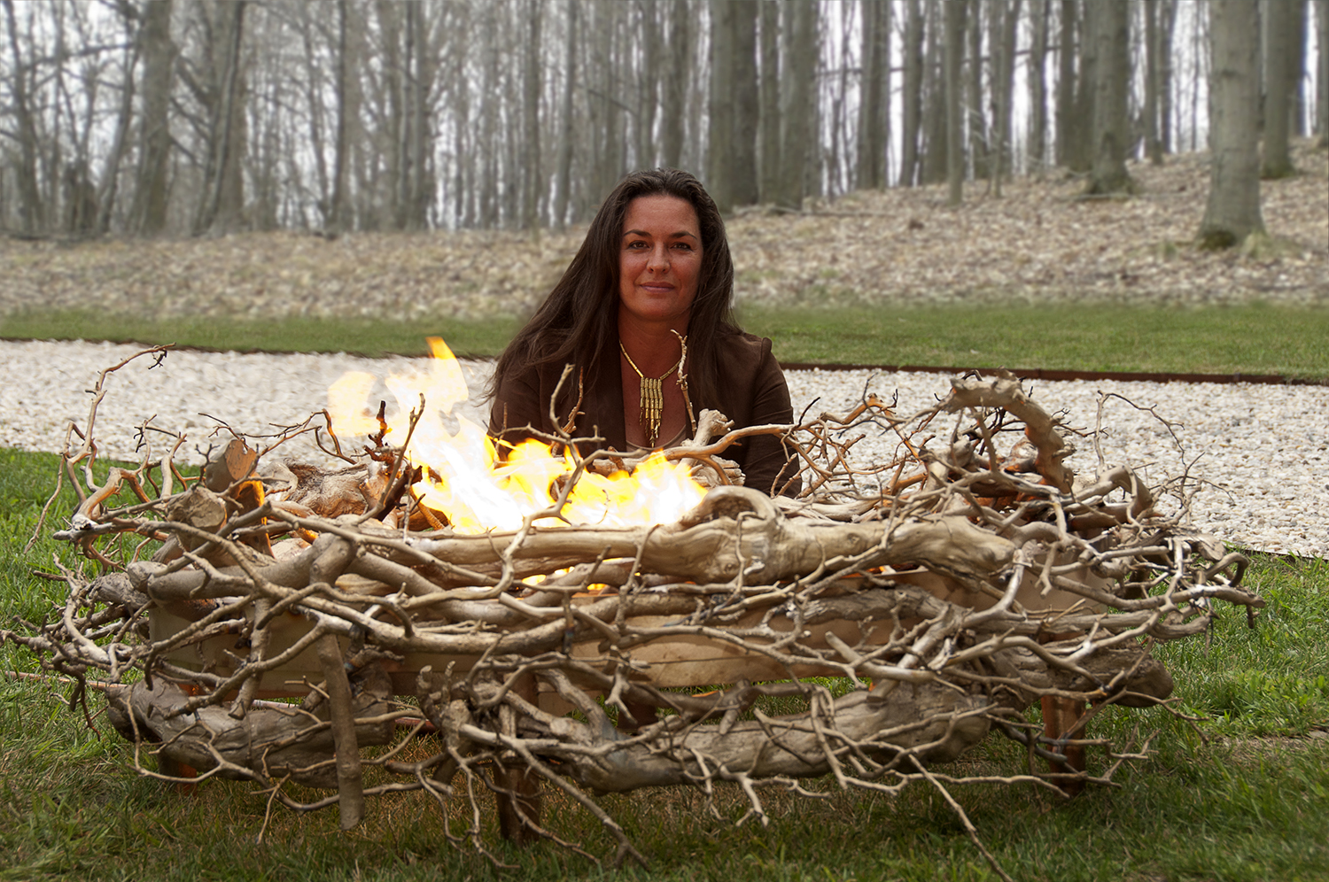 Colombo next to Cast Bronze Nest, her one-of-a-kind creation at a private Southhampton residence.