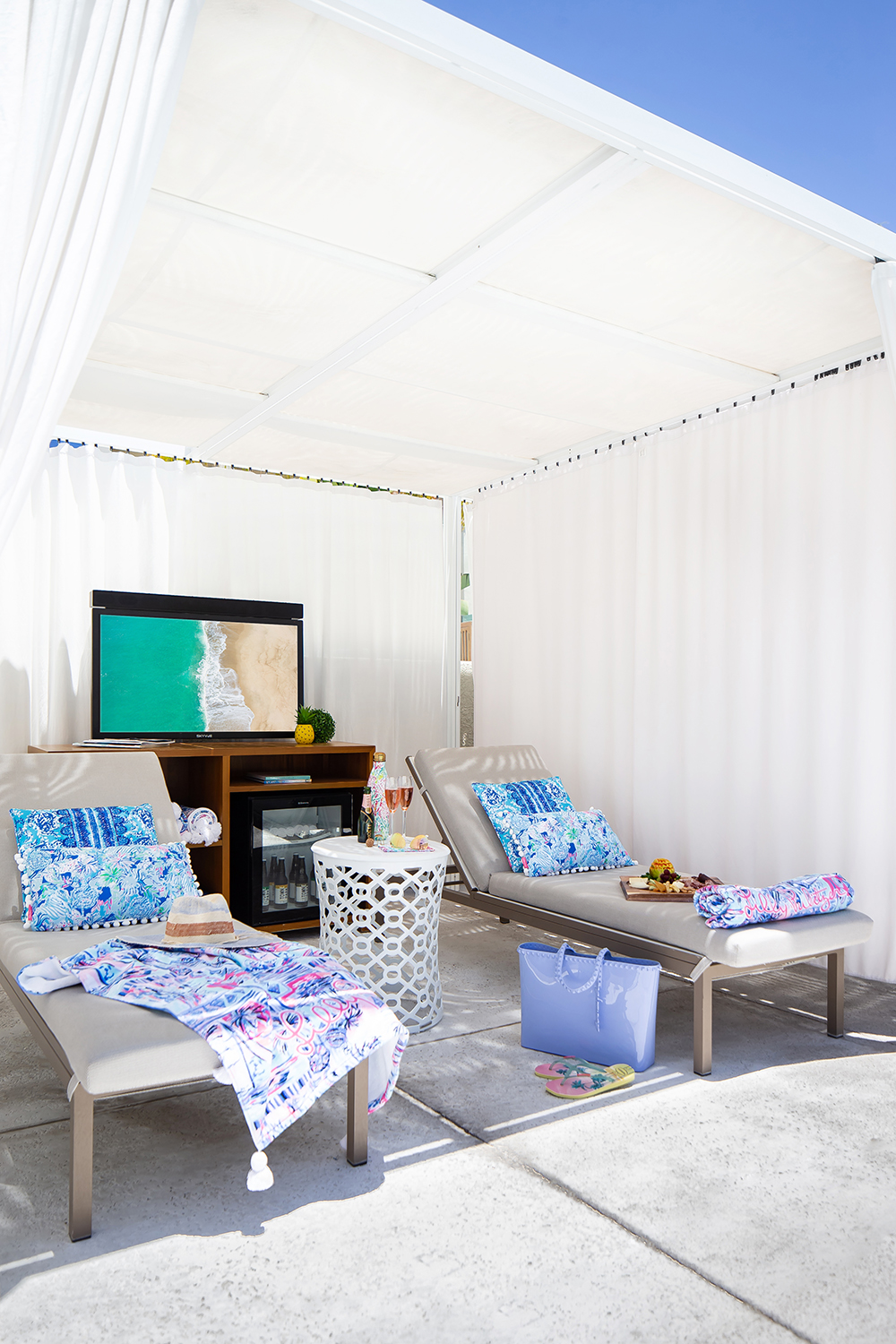 The resort's outdoor pool cabanas and daybeds will be outfitted in Lilly Pulitzer's quintessential vibrant prints.
