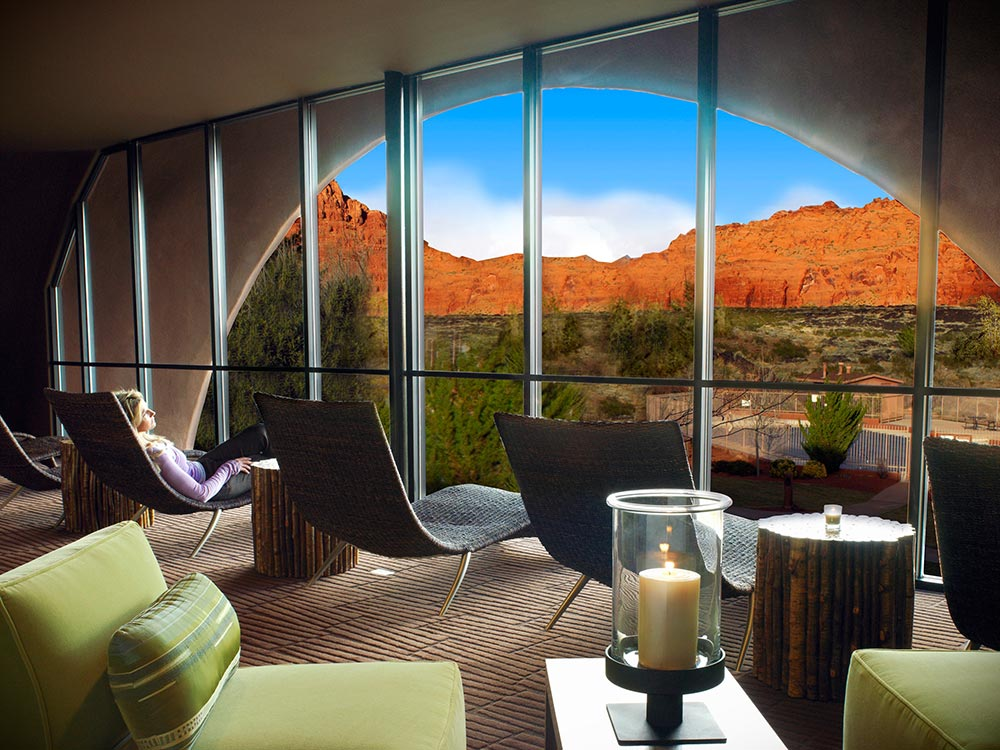 View from the relaxation lounge at Sagestone Spa.
