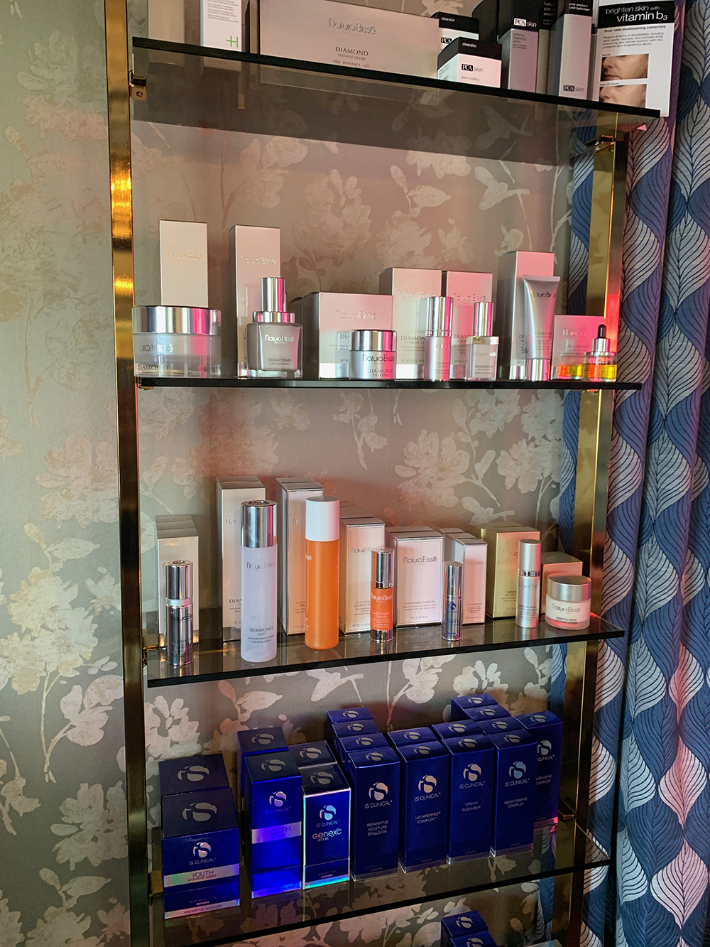 The spa's retail area carries several renowned skincare brands.