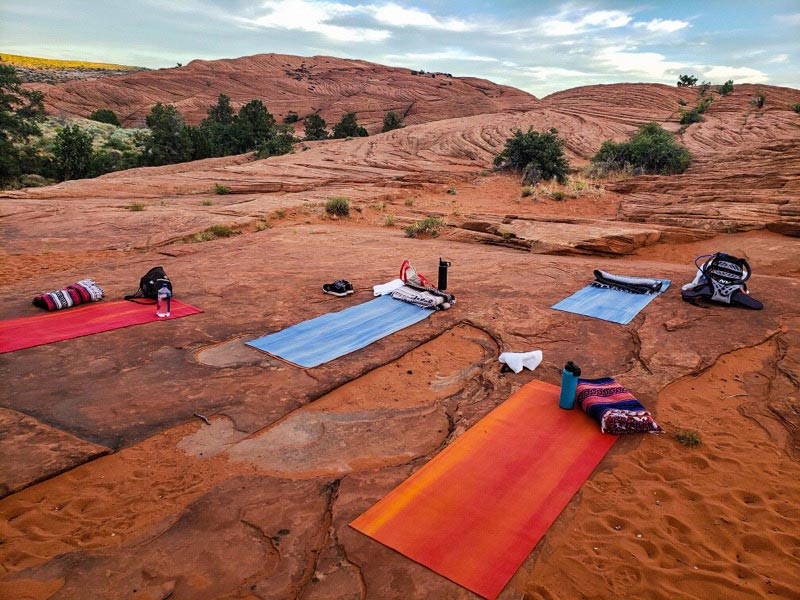 Yoga on the bluffs in Snow Canyon State Park.