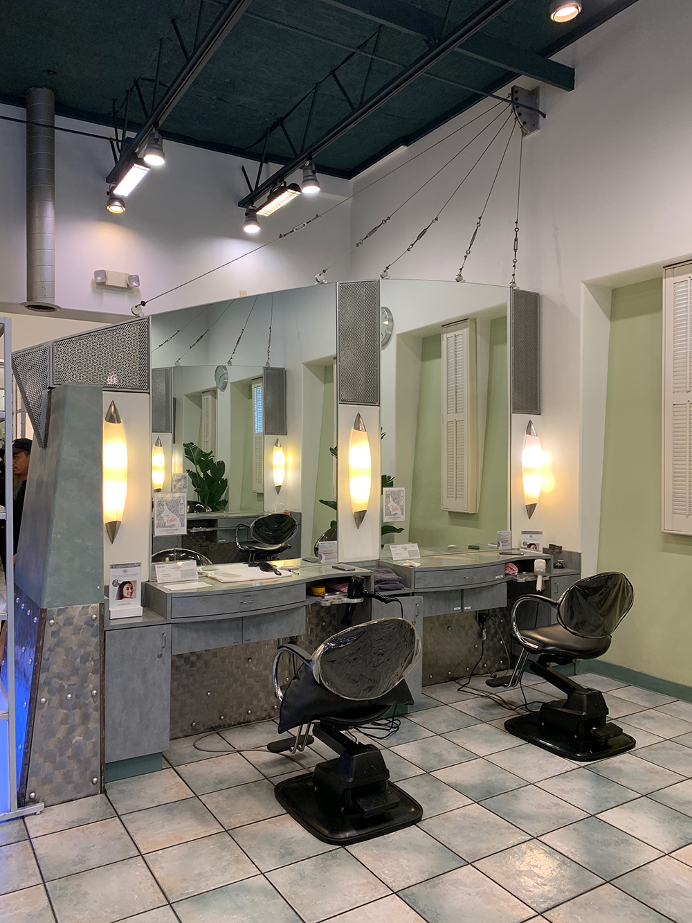 The styling stations.