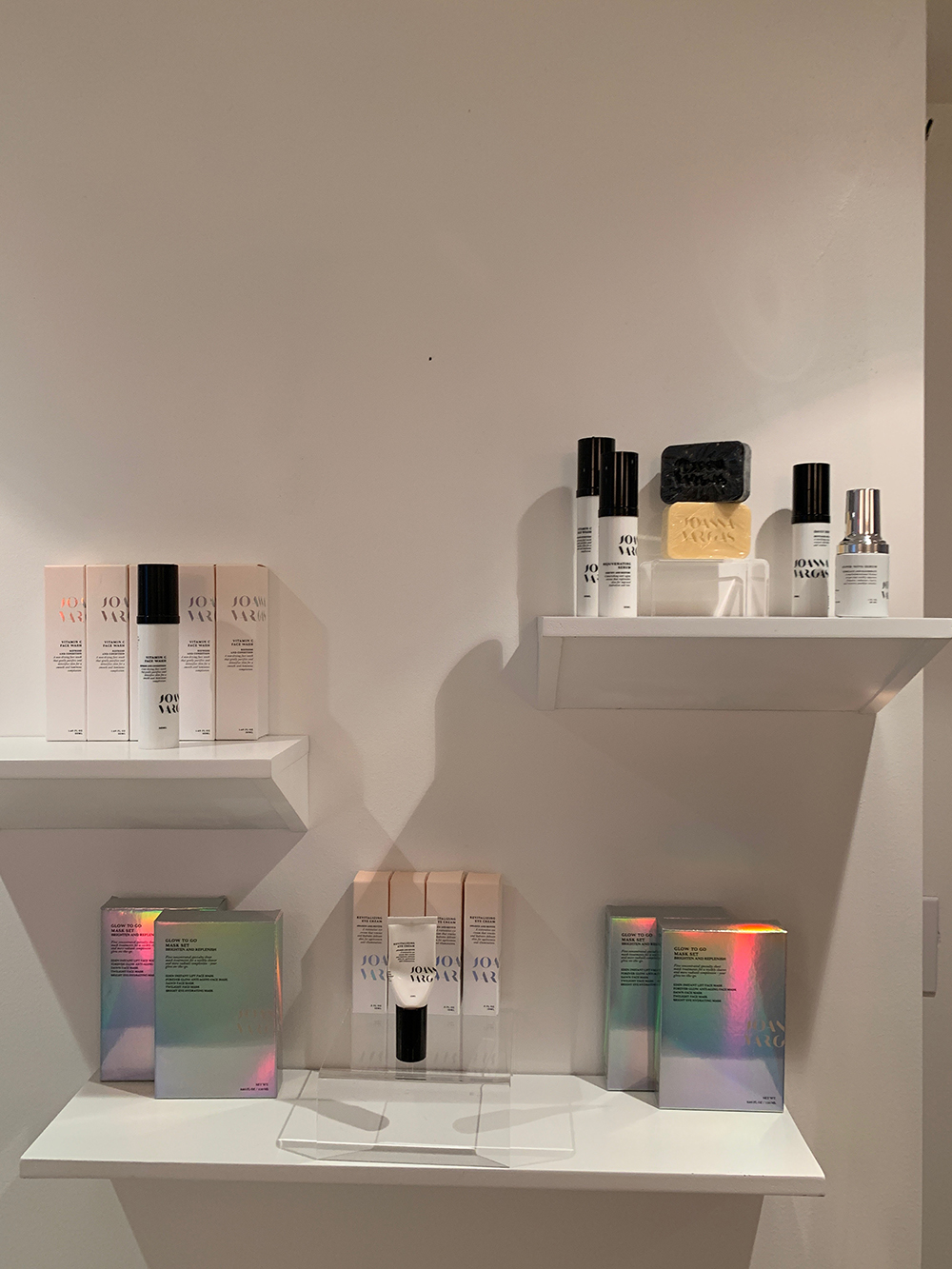 Joanna Vargas Skincare products on display in the retail area.