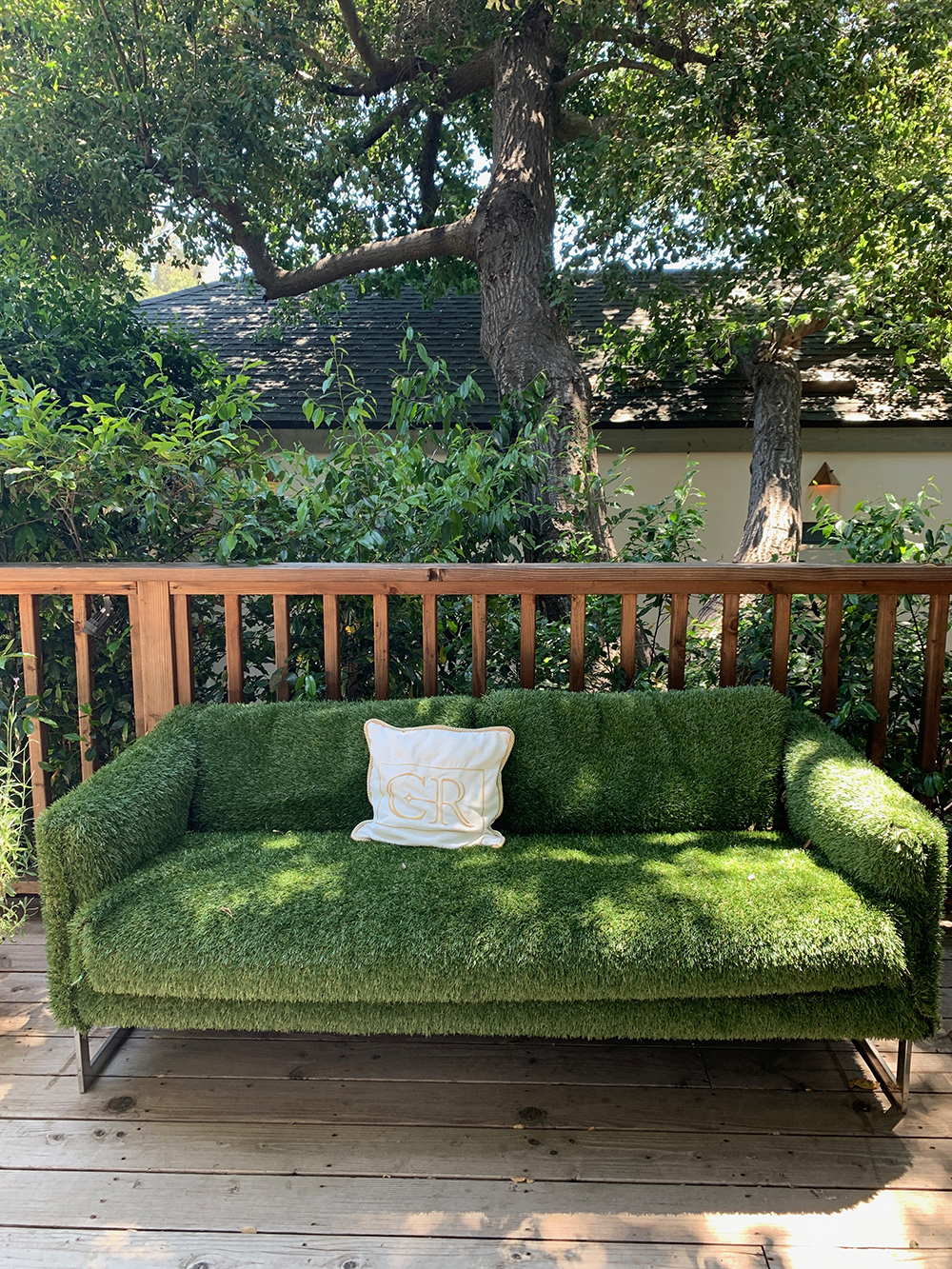Calamigos Guest Ranch & Beach Club features lots of cute details throughout, like this faux-grass couch.