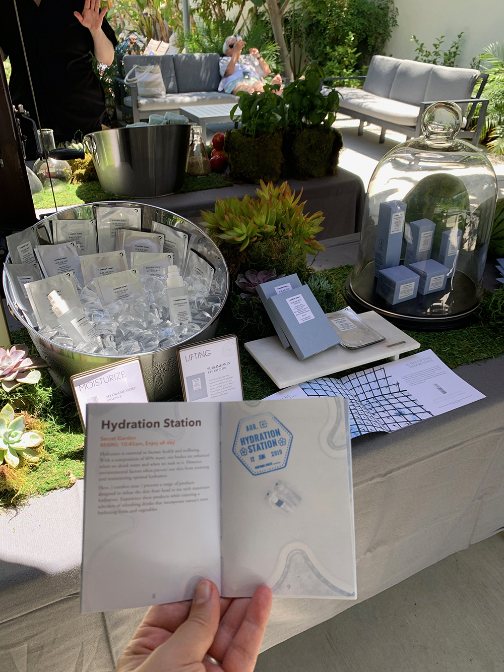 I cooled off at the Hydration Station with refreshing drinks and [comfort zone] products.