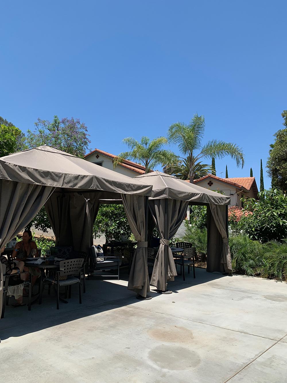 I enjoyed a lunch break under shaded cabanas.