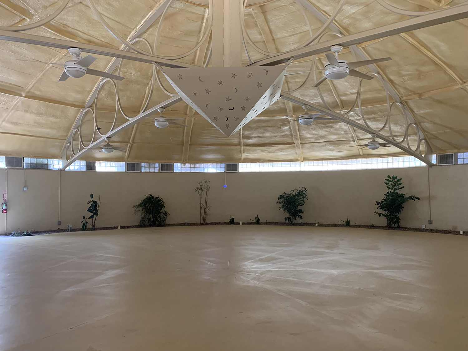The sprawling space inside the yoga dome.