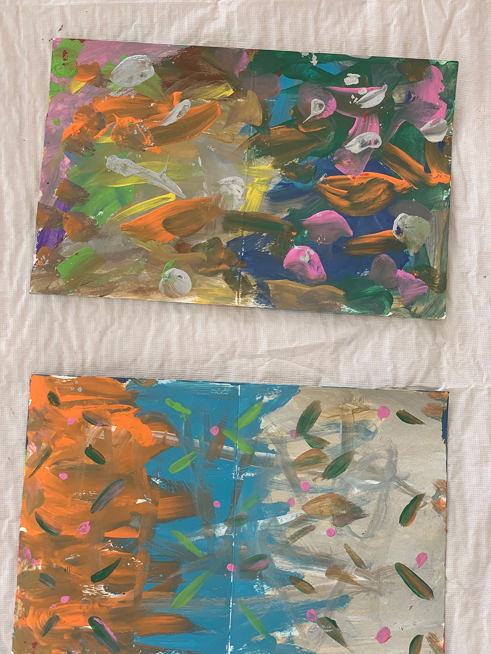 My canvas art pieces that I created, which were analyzed by the creative art coach.