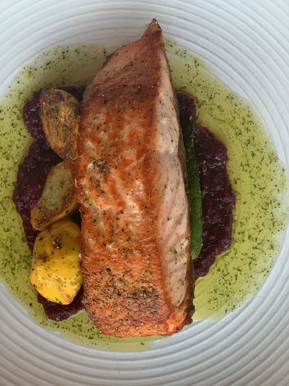 I ordered Scottish salmon with spring pea couscous, brocolini, and tarragon lemon oil.