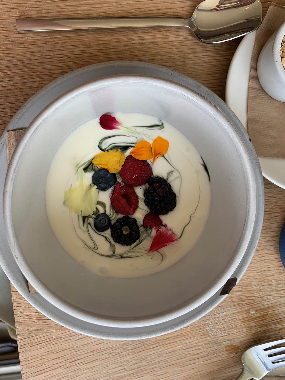 The house-made Lemon Chlorophyll Yogurt with house hemp granola and market berries.