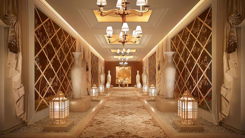 One of the spa's elegant hallways.