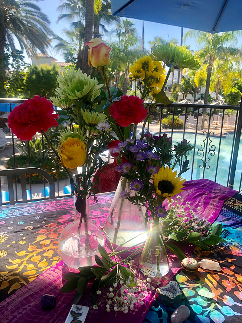 Flower reading at Glen Ivy Hot Springs. [Photo courtesy of Kate Wind]