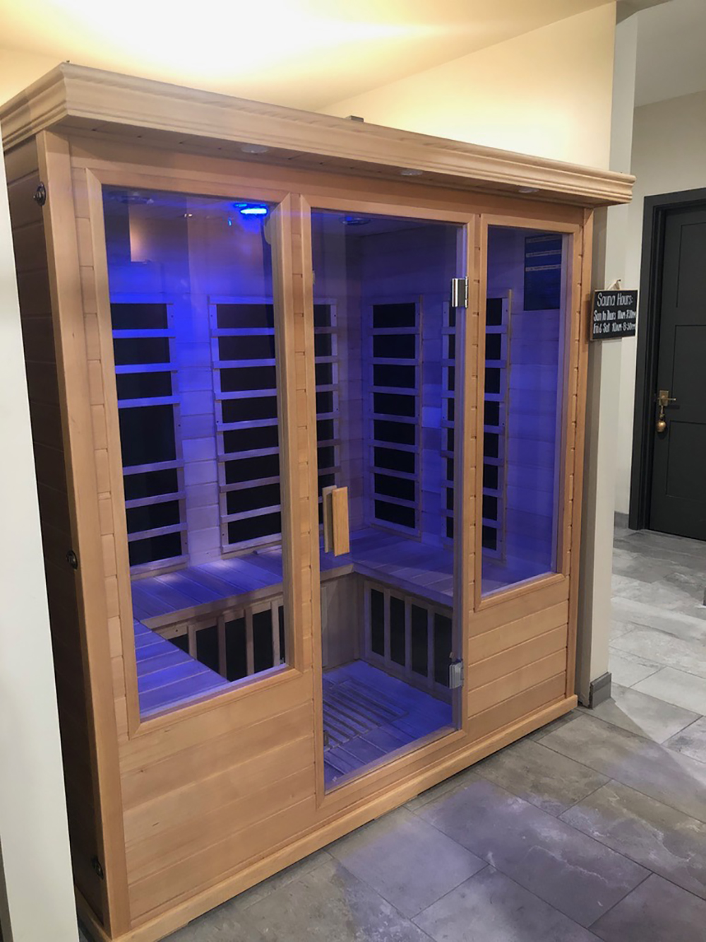Guests can relax in the sauna before or after treatments.