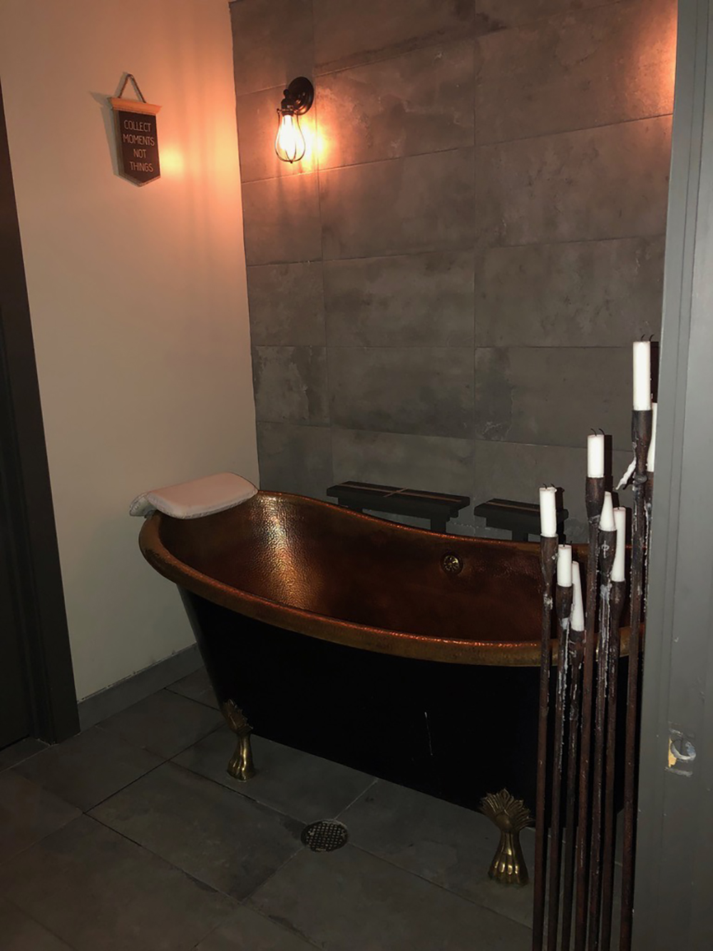 Guests can enjoy an array of soak baths in the copper tub.