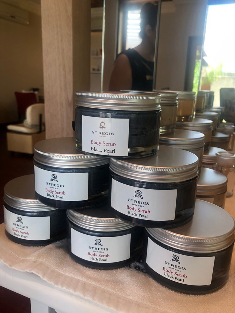 The spa offers a variety of natural skincare products.
