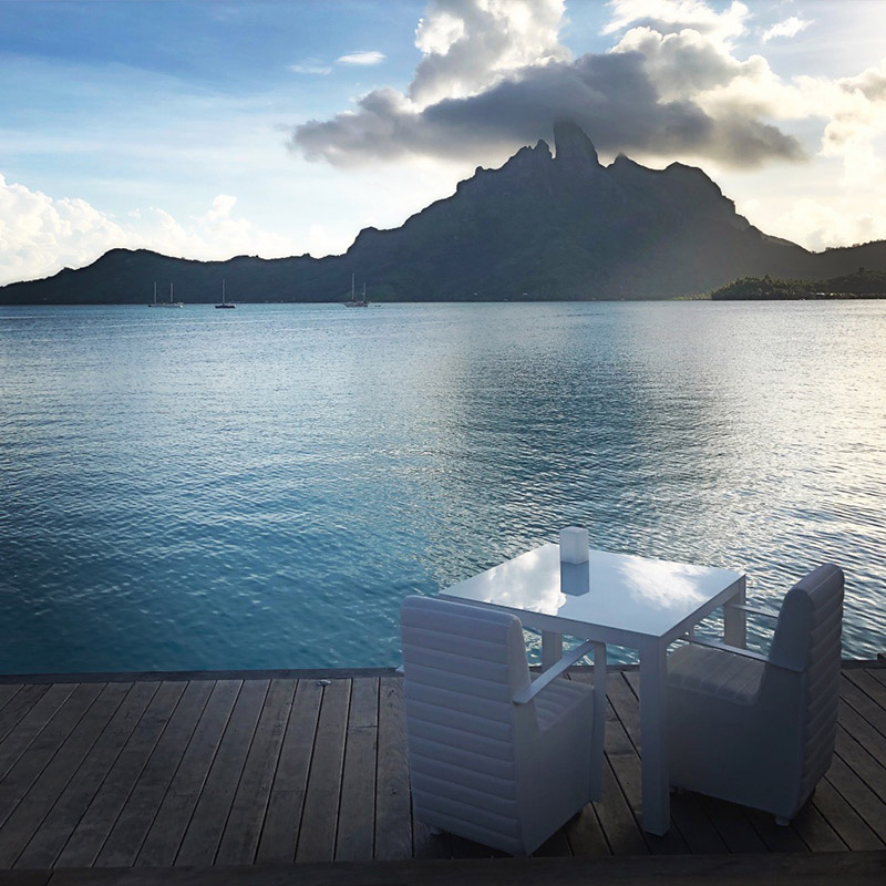 Guests of Lagoon can enjoy cocktails on the outside deck accompanied by stunning views of Mount Otemanu.