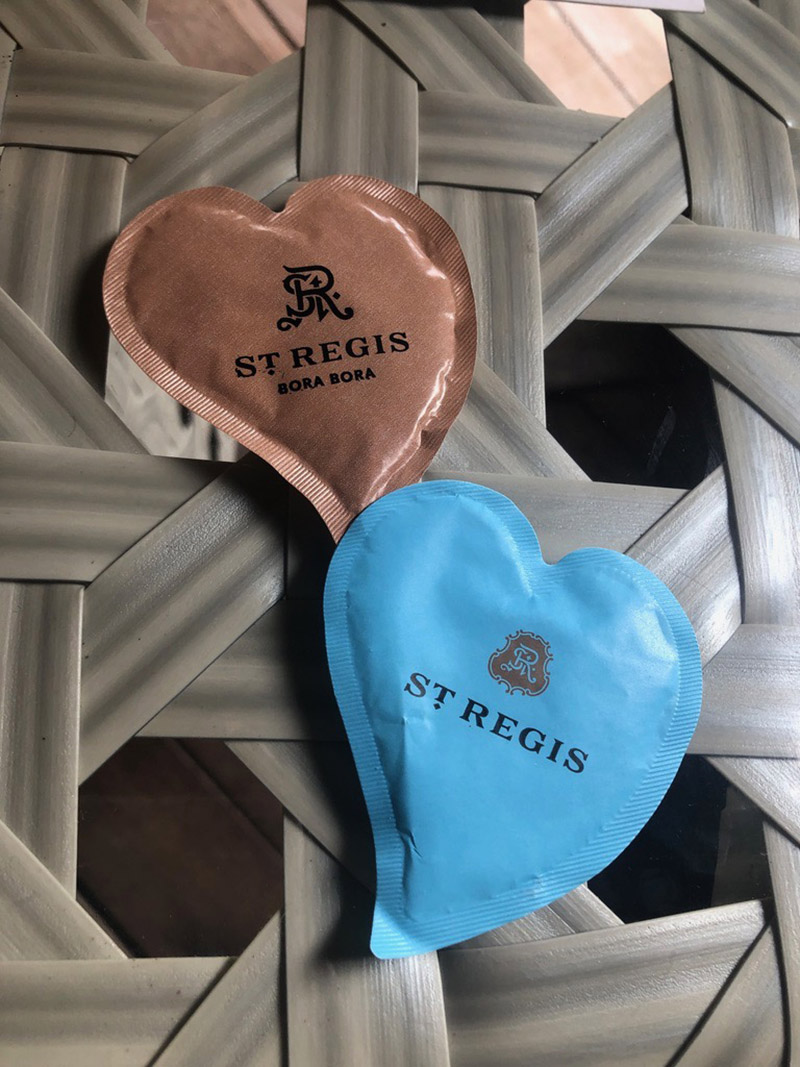 Heart-shaped sugar packets—perfect for honeymooners!