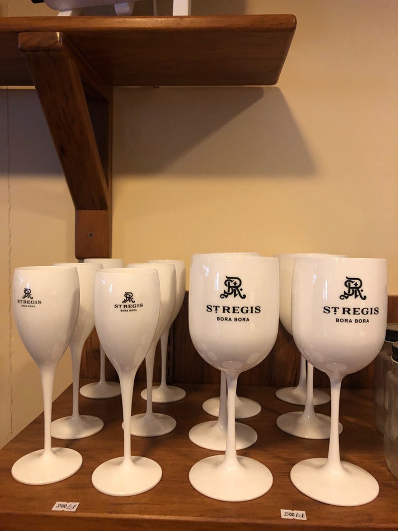 Guests can shop a variety of themed resort merchandise, including wine and champagne glasses.