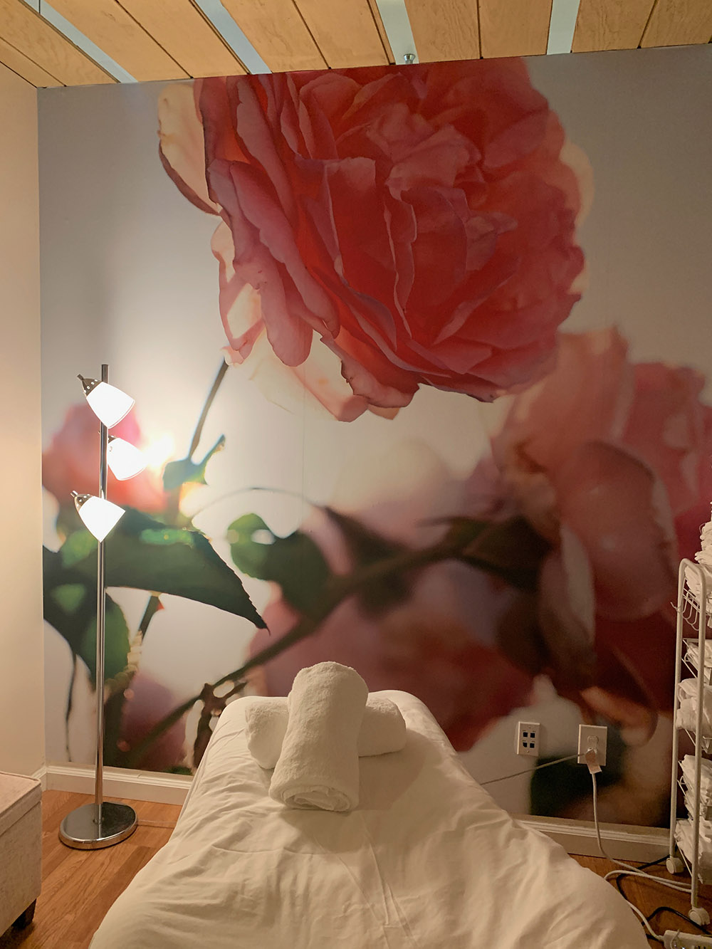 The view of the Jurlique floral wall.