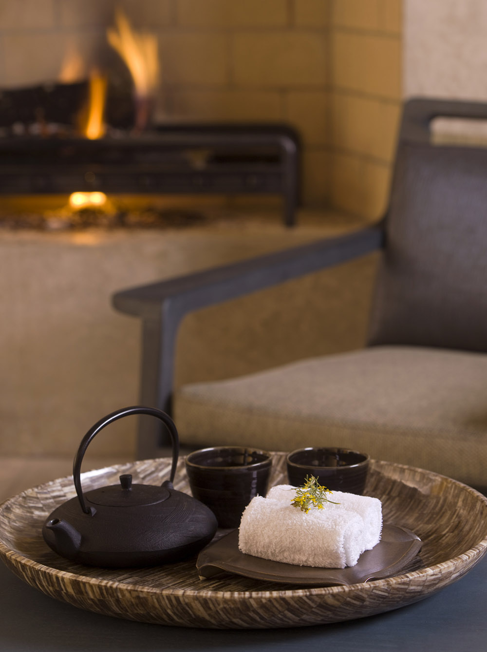 Tea and flavored waters are among the refreshments served to guests at the spa.