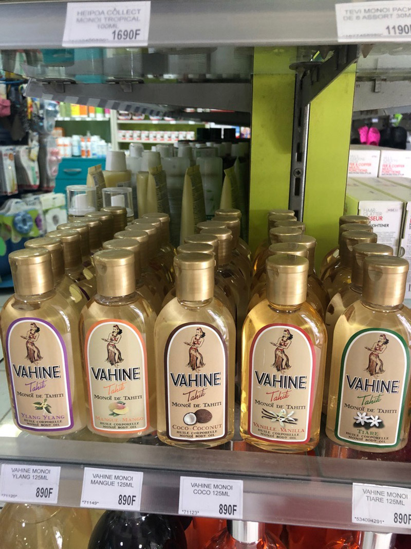 Many of the stores in Vaitape sell skincare products featuring local ingredients, such as monoi oil.