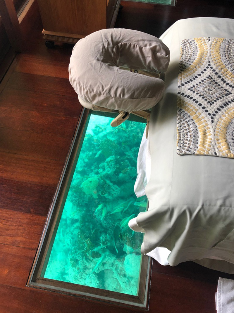 Watch fish swim during your massage in the Fare Miti Suite.
