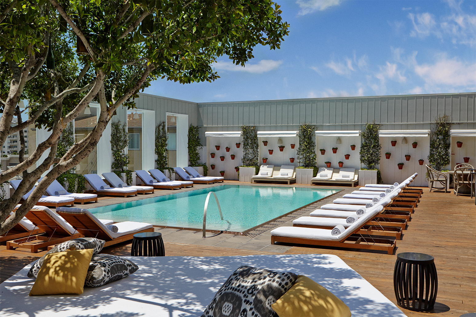 The swimming pool at Mondrian Los Angeles.