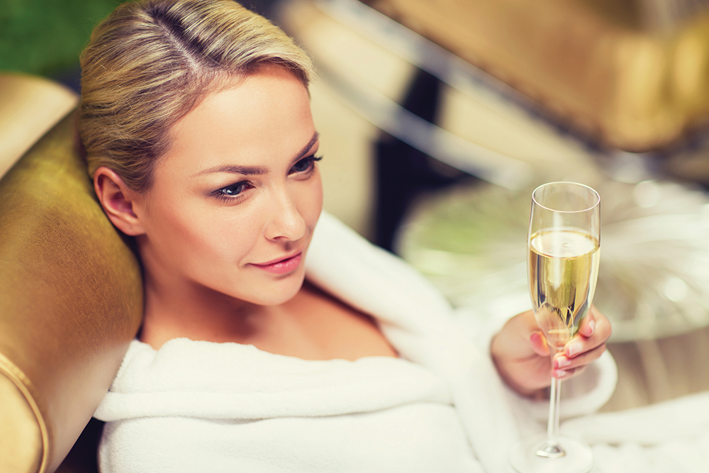 After each spa service, guests are offered a glass of complimentary champagne.