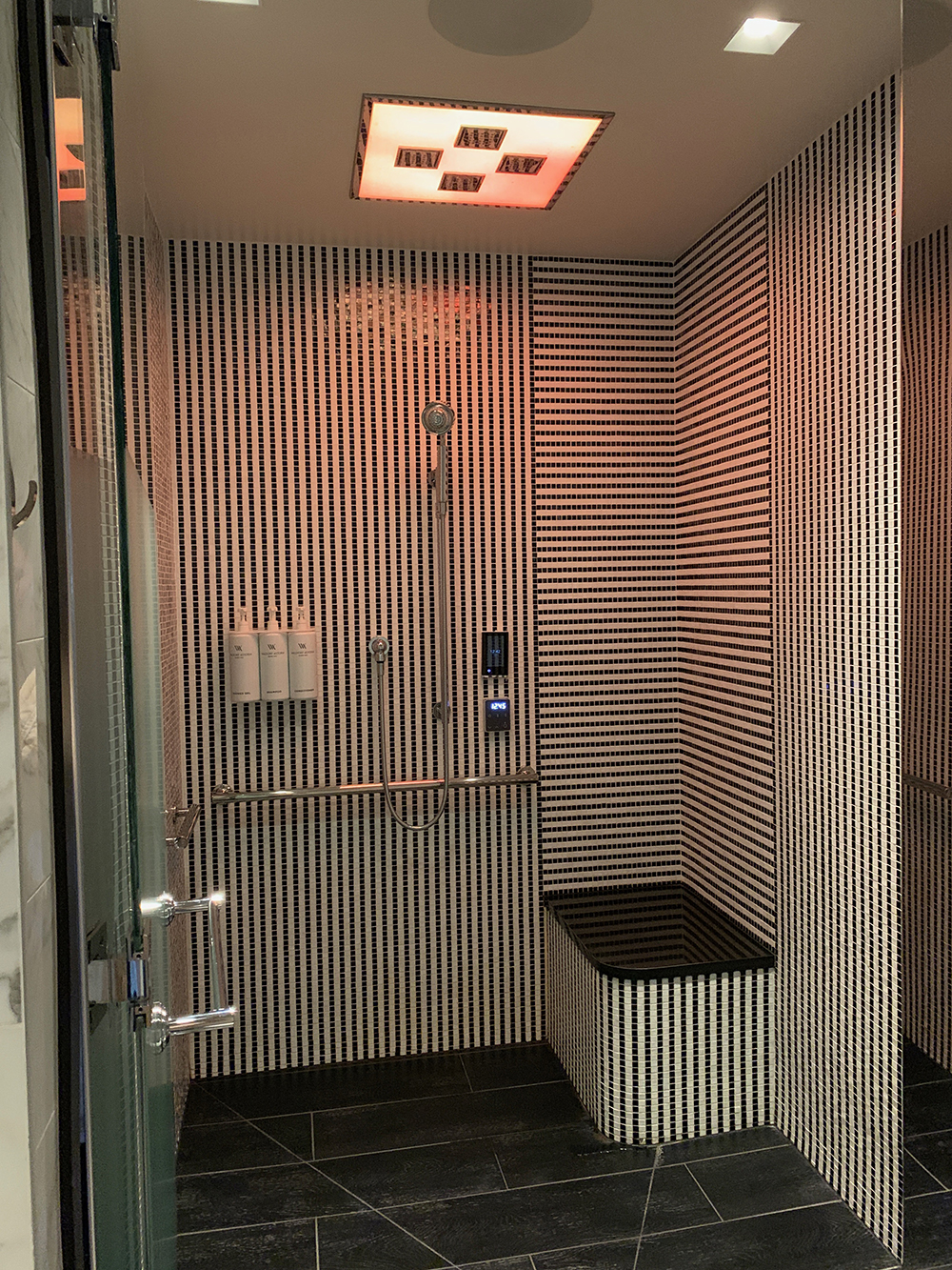 The experience shower includes light therapy.