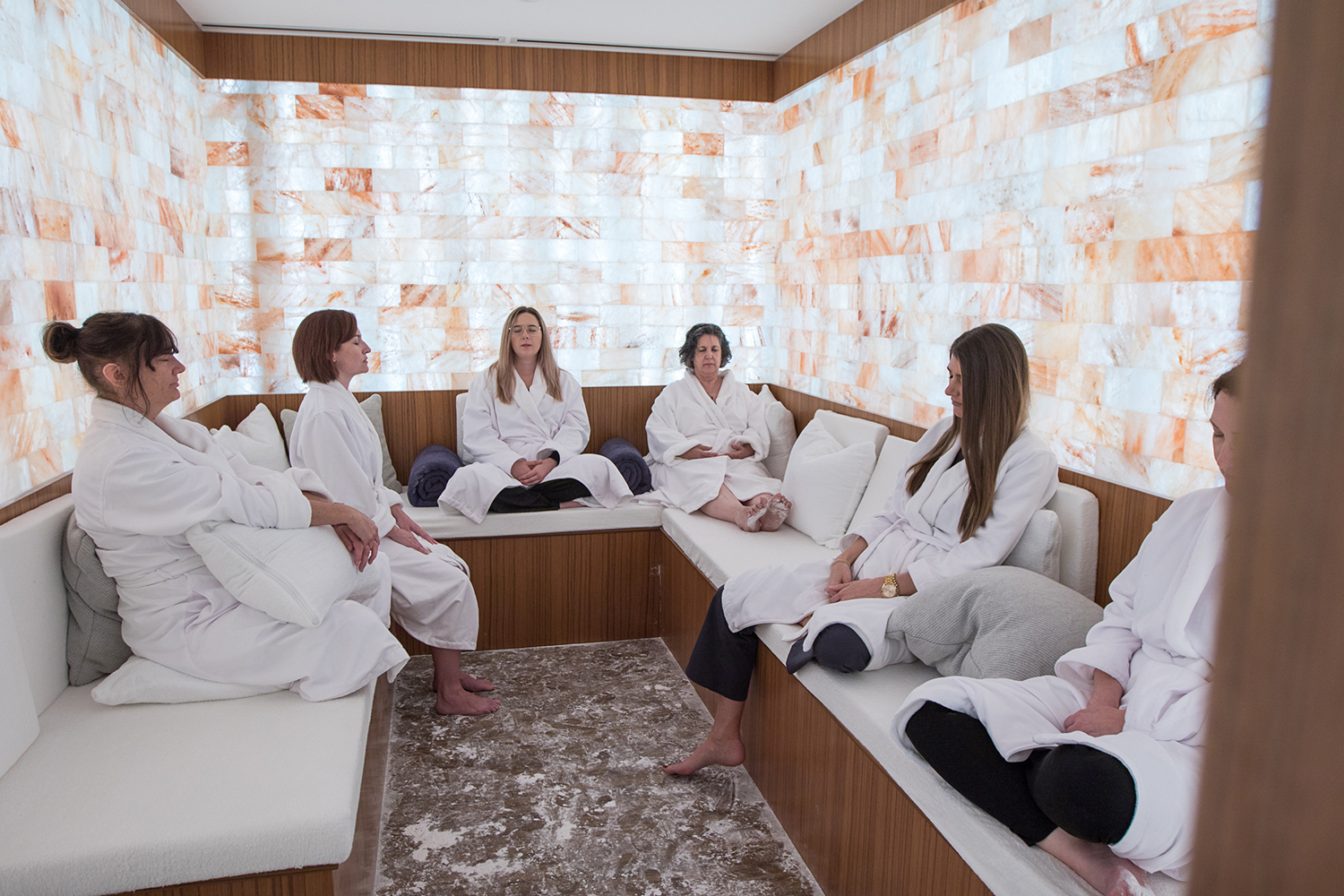Facilities include a co-ed ionized Himalayan salt therapy room.