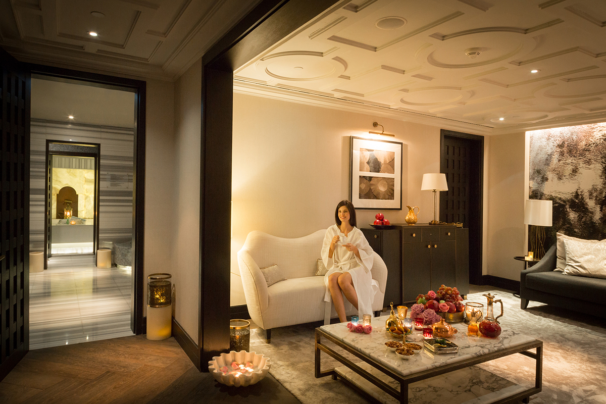The luxurious property has three Turkish hammams in the world-renowned Raffles Spa, which features male and female relaxation areas with saunas, and more.