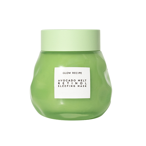 Glow Recipe Avocado Melt Retinol Sleeping Mask nourishes and repairs dehydrated, stressed, and blemish-prone skin with avocado, encapsulated retinol, PHA, and matcha.