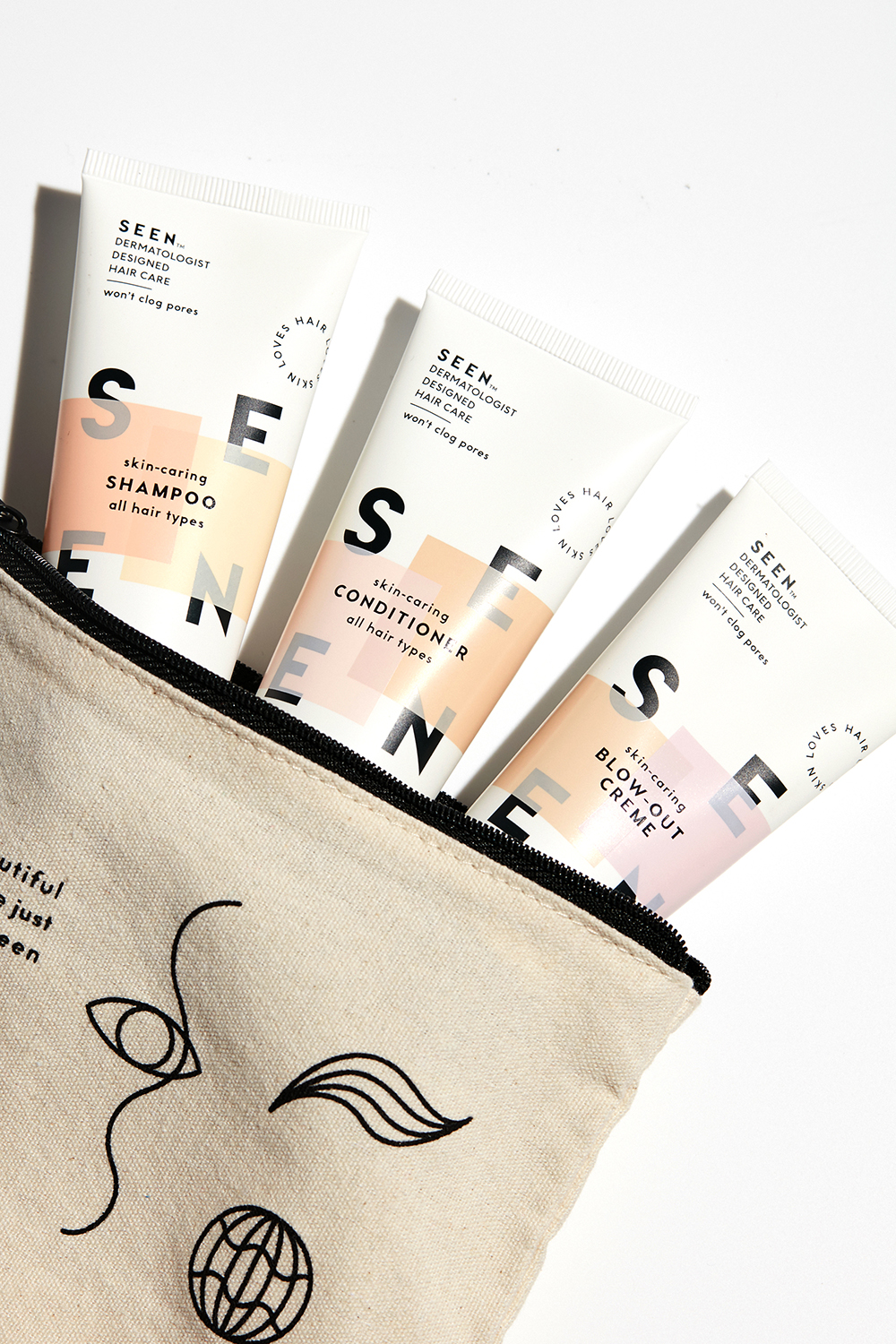 The SEEN Haircare Travel Kit ($29) includes the brand's shampoo, conditioner, and blow-out cream in a stylish pouch.