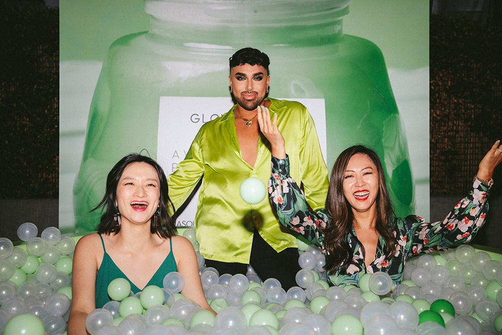 Angel Marino AKA Mac Daddy enjoys the ball bit with Co-Founders of Glow Recipe, Sarah Lee and Christine Chang.