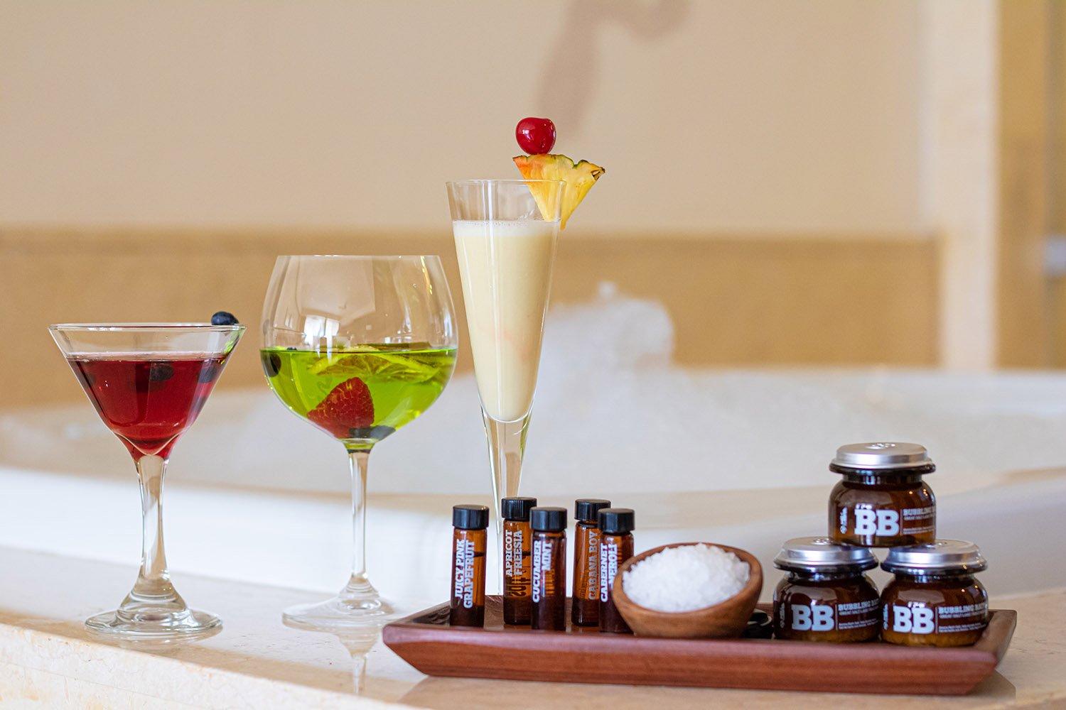 At Grand Velas Riviera Maya, guests can now indulge in an in-suite bubble bath menu inspired by their favorite cocktail.
