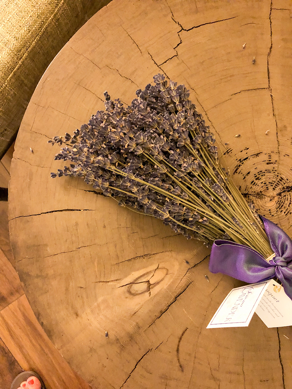 Fresh lavender was incorporated into the relaxing bath.