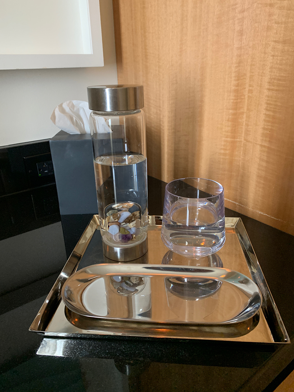 I enjoyed crystal-infused water post-treatment.