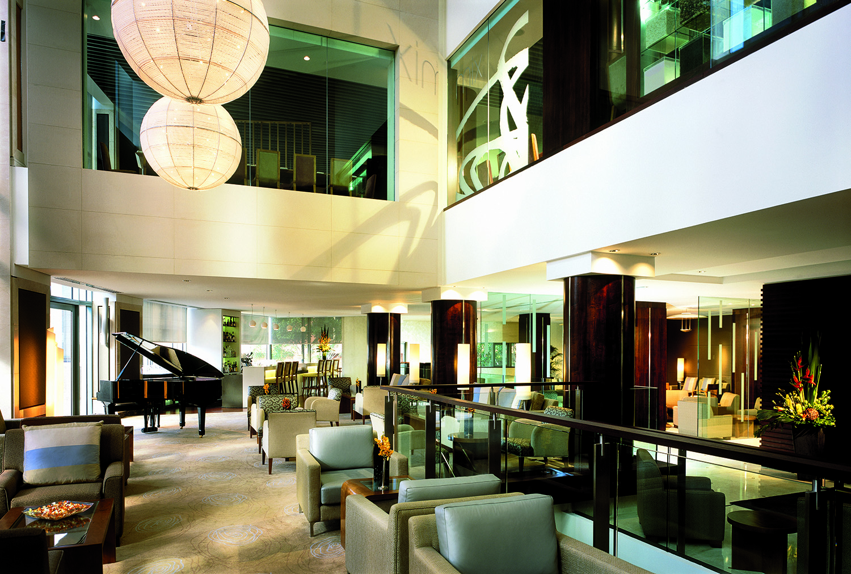 The lobby lounge.