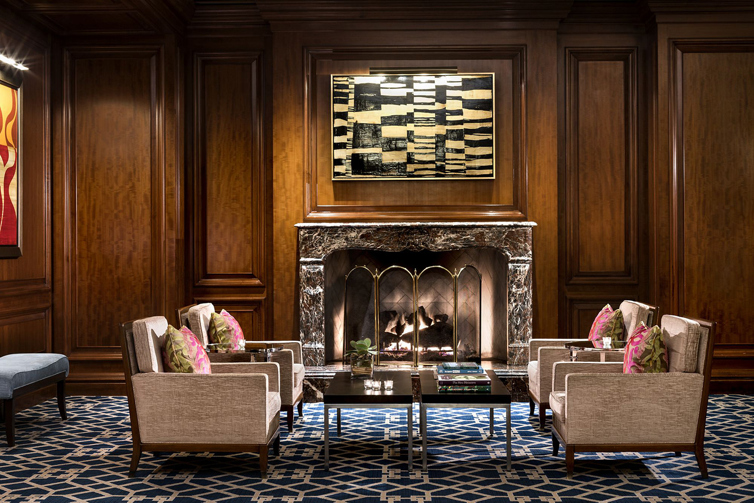 The lobby seating area of The Ritz-Carlton, St. Louis.