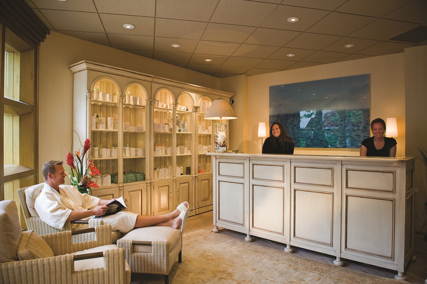 The reception area at Spa on the Plaza.
