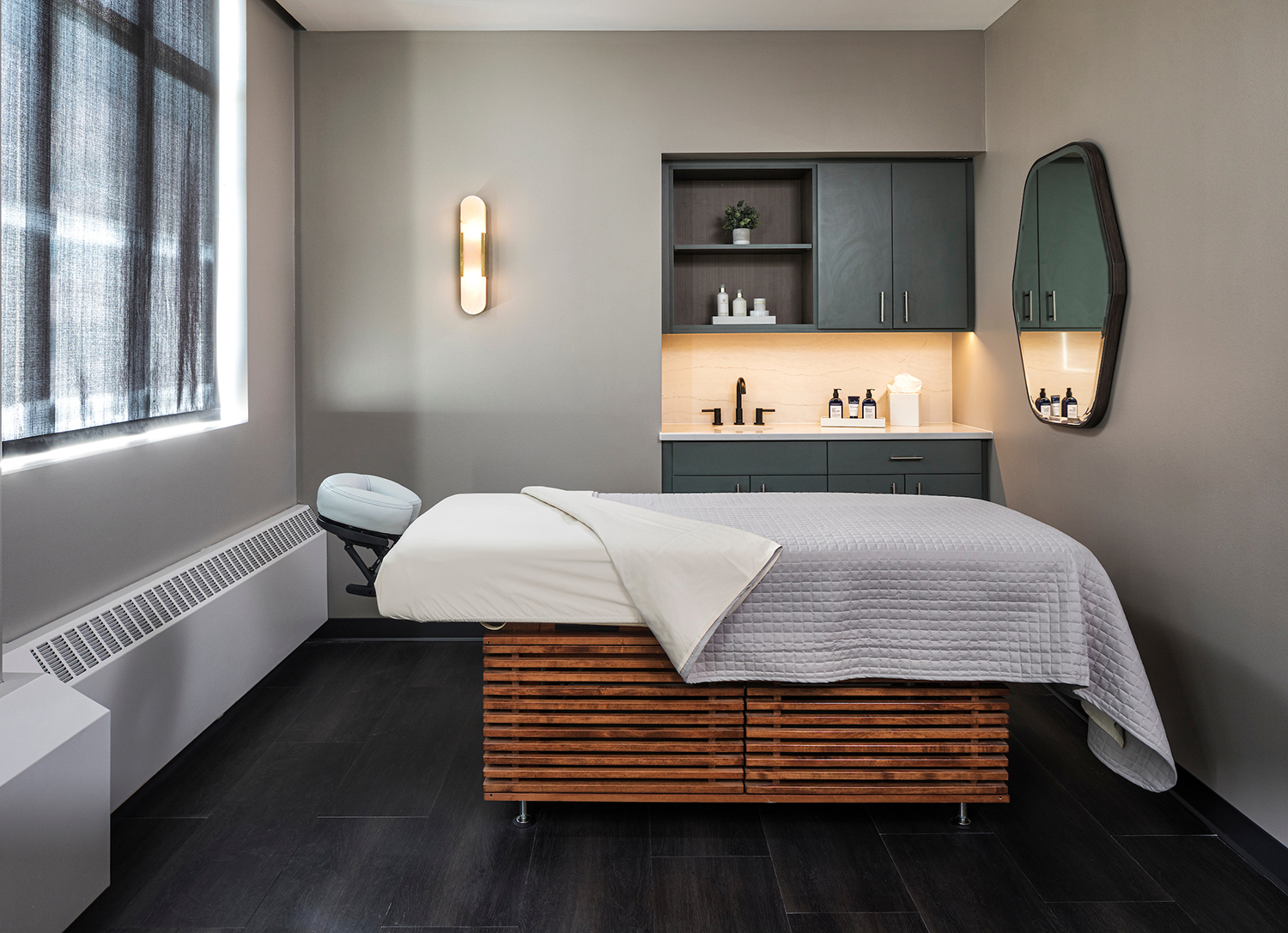 The menu offers a variety of full-body treatments and massages, including Himalayan salt stone scrubs, and more.