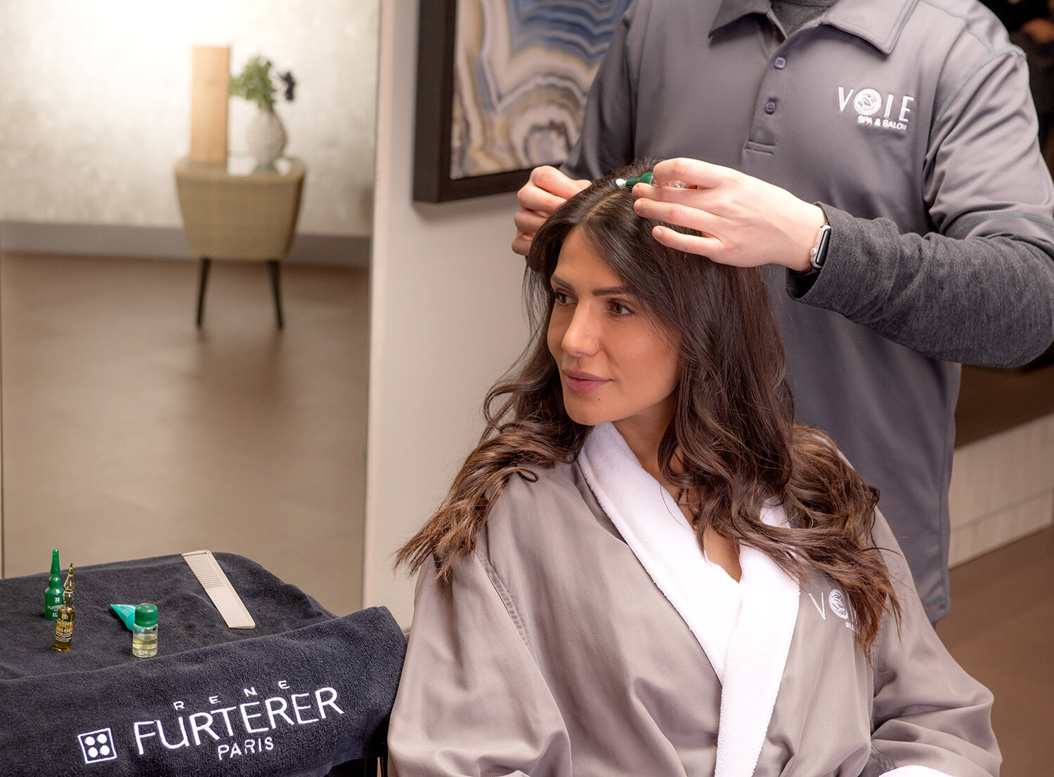 Voie Salon exclusively offers a variety of 20-minute hair rituals using René Furterer's high-end French product line.