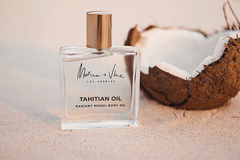 Marine + Vine Tahitian Oil ($62) features carefully blended potent Tahitian monoi with the perfect balance of kukui, macadamia, and passionfruit oils.