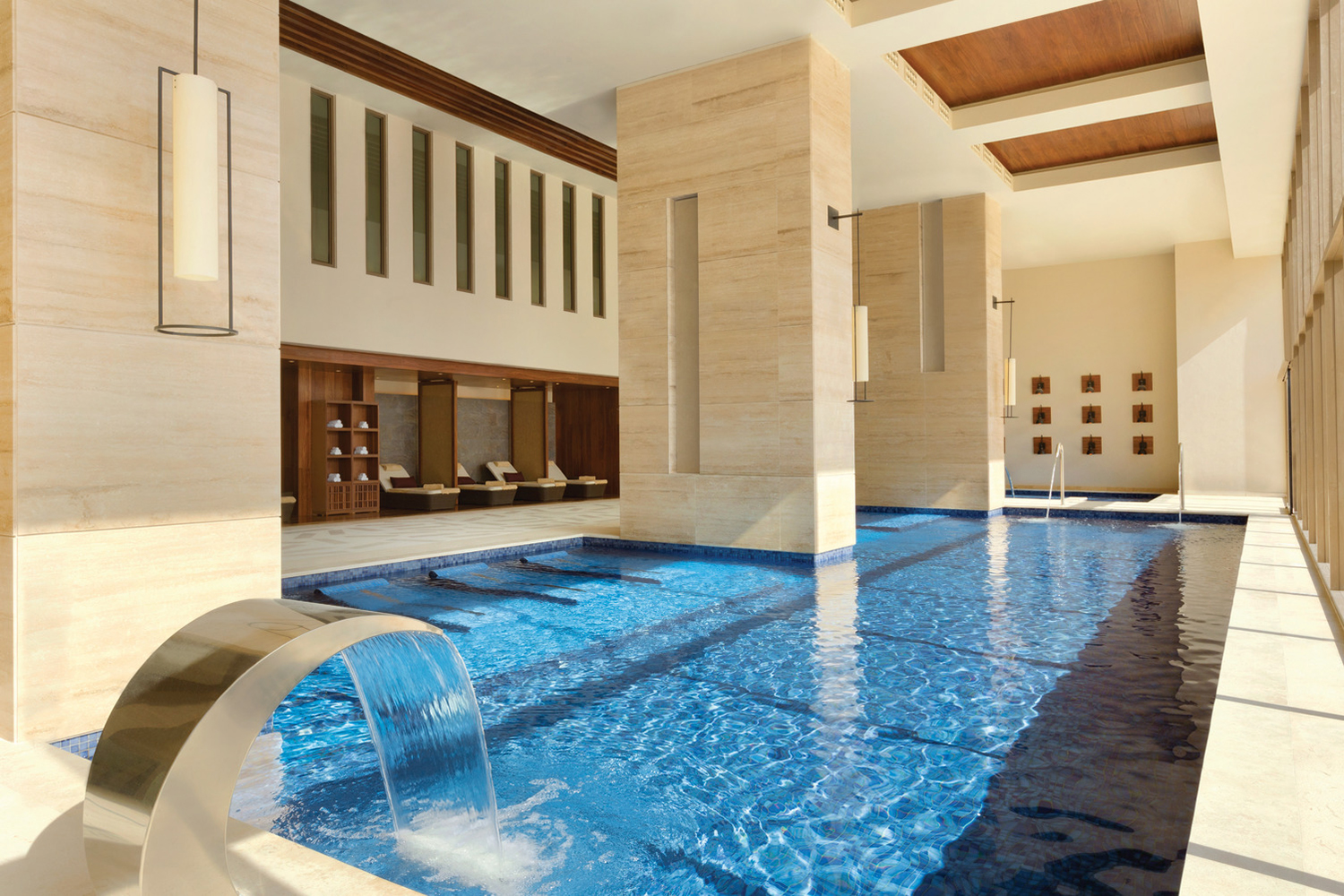 Zen Spa features a dual temperature whirlpool tub, steam room, a sauna, and a cold plunge pool.