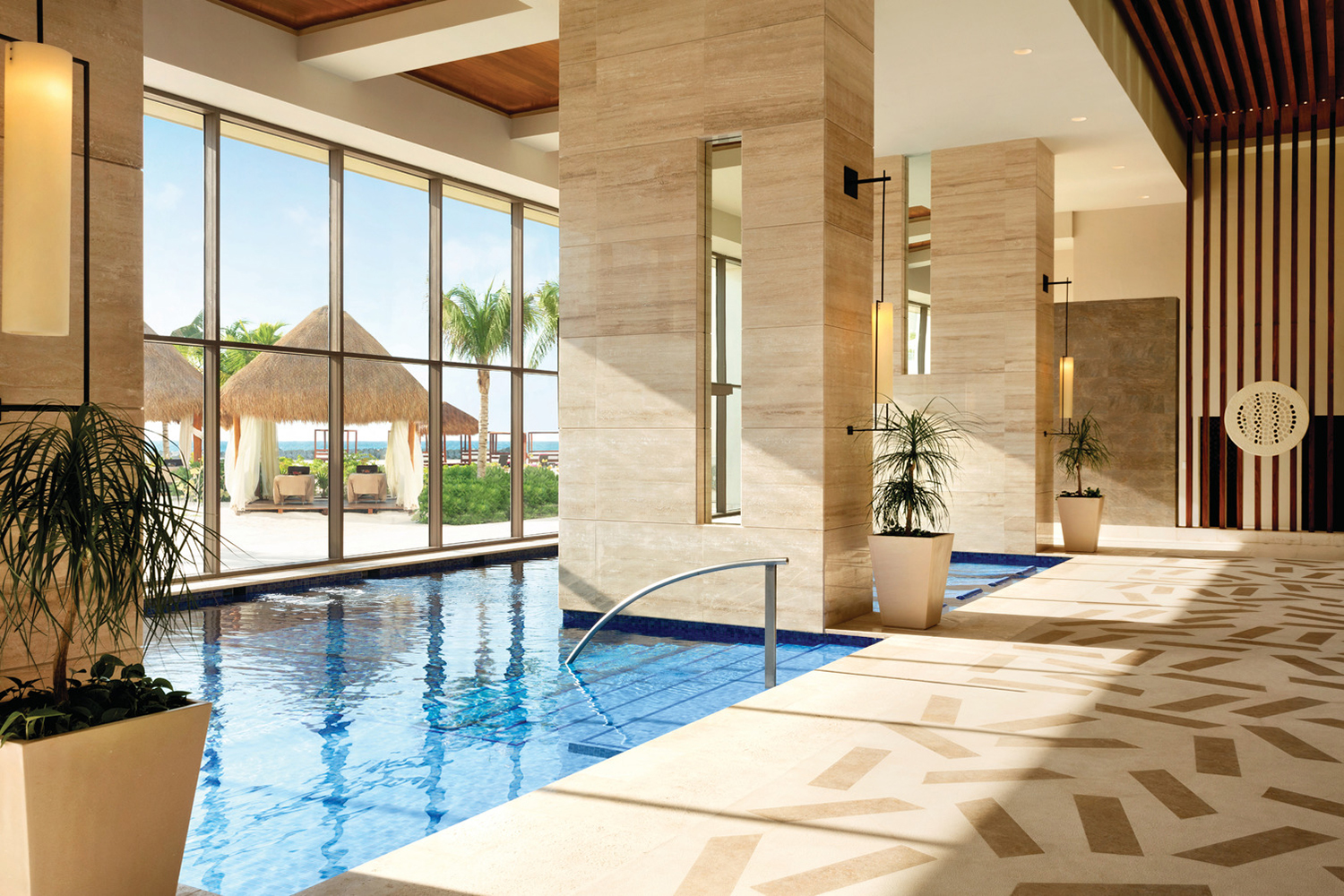 The spa's hydrotherapy circuit faces the Caribbean Sea.