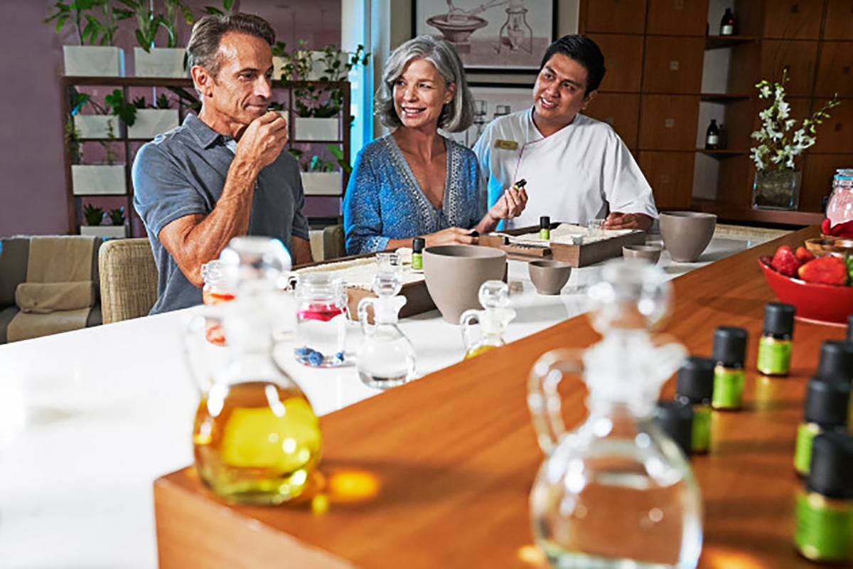 Guests also enjoy Alchemy workshops where they can create masks, fragrances, or body lotions from an individual selection of aromatherapy oils and organic ingredients.