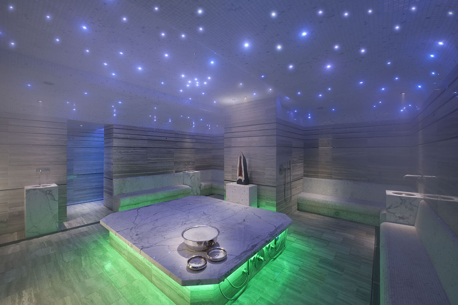 A traditional Turkish experience is provided in the Hammam at Waldorf Astoria Spa Las Vegas.