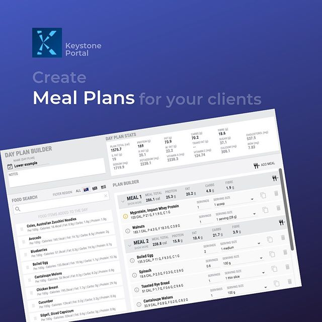 Your clients don't know what foods to eat to hit their macros?!! 🤷🏼♀️ No worries - we have got you. Create meal plans in Keystone portal and share them with your clients! 💪🏽 . . . . . #pt#coach#personaltrainer #personaltrainers #trainer#coaching #macro #macros#protein#food#diet#mealplan#nutrition#mealplanning #nutritionplan#nutritionplans#macrocounting#dietitian #nutritionfacts #nutritionist #bodytransformation #nutritionnerd #balance#optimalhealth #lifestyle #nutritioncoach#app#healthapp#fitnessapp#tuesday